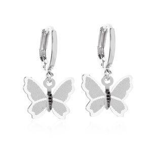*MARGOLETTE* Silver Butterfly Pendant Earrings